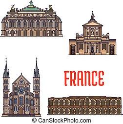 viaggiare, francese, disegno, turismo, limiti, icona