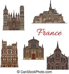 viaggiare, francia, disegno, punto di riferimento, turismo, icona