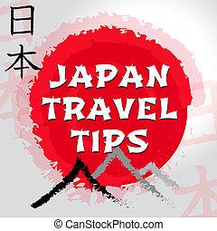viaggiare, giapponese, giri, giappone, punte, guida, mostra