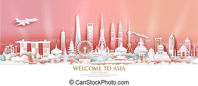 viaggiare, grattacielo, skyline., asia, limiti, opuscolo, famoso, architettura