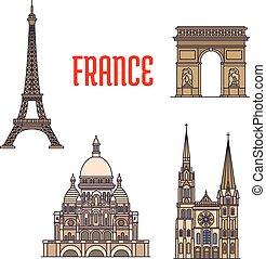 viaggiare, icona, limiti, architettonico, francia