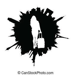 viaggiare, illustrazione, borsa, viaggiare, ragazza, bianco