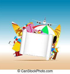 viaggiare, illustrazione, carta, fondo, bianco, bandiera