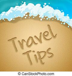 viaggiare, illustrazione, indica, giro, punte, 3d, hints