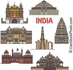 viaggiare, indiano, architettura, icona, limiti