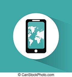viaggiare, mappa, smartphone, domanda