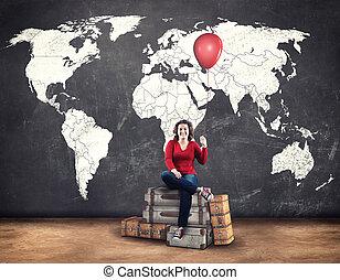 viaggiare, mondo, giovane, intorno