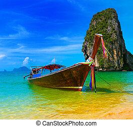 viaggiare, natura, tradizionale, ricorso spiaggia, barca, tailandia, paradiso, bello, legno, isola, cielo, estate, tropicale, blu, scenario, paesaggio, acqua