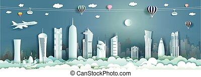 viaggiare, orizzonte, architettura, qatar, moderno, skyscraper., costruzione