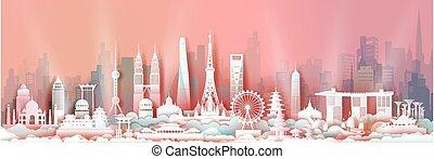 viaggiare, orizzonte, asia, limiti, tourism., centro, architettura asiatica