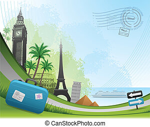 viaggiare, postale, scheda, fondo