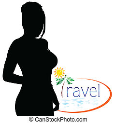viaggiare, ragazza, silhouette