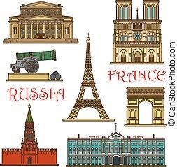 viaggiare, russia, francia, linea sottile, limiti, icona