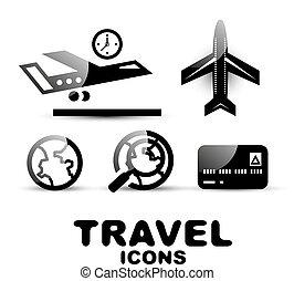 viaggiare, set, nero, lucido, icona