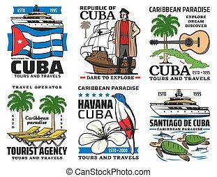 viaggiare, simboli, giri, sightseeing, cuba, limiti
