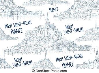 viaggiare, sketching., città, francia, arte, vettore, linea, turismo, concept., seamless, card., pattern., mont, silhouette., illustration., saint-michel.