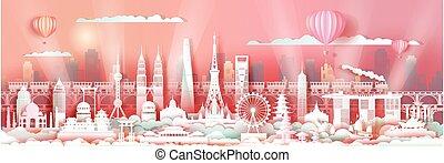 viaggiare, skyline., asia, celebrazione, limiti, centro, architettura