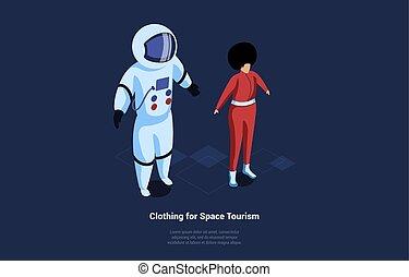 viaggiare, speciale, spazio, stile, turismo, abbigliamento, composizione, equipaggiamento, vuoto, cartone animato, vettore, protettivo, illustrazione, fondo., 3d, scritture, isometrico, astronauta, concept., carattere, scuro