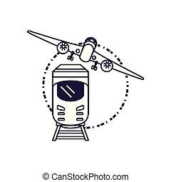 viaggiare, treno, aeroplano, veicolo