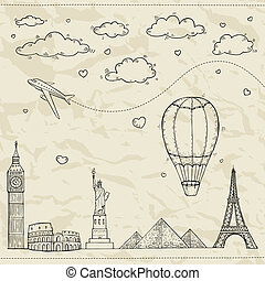 viaggiare turismo, illustration.