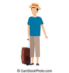viaggiare, uomo, giovane, valigia