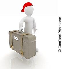 viaggiare, valigia, uomo, cuoio, 3d