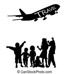 viaggiare, vettore, bambini