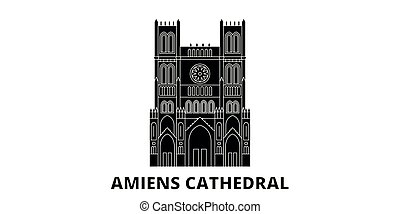 viaggiare, vettore, città, nero, punto di riferimento, francia, simbolo, viste, amiens, landmarks., set., cattedrale, illustrazione, orizzonte, appartamento