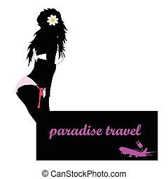 viaggiare, vettore, ragazza, aeroplano, paradiso