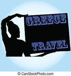 viaggiare, vettore, ragazza, illustrazione, grecia