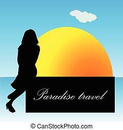 viaggiare, vettore, ragazza, paradiso