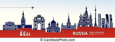viaggiare, vettore, russia