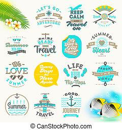 viaggiare, vettore, set, vacanza, estate, tipo, disegno