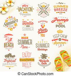 viaggiare, vettore, set, vacanza, estate, tipo, vacanze, disegno