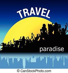 viaggiare, vettore, silhouette, persone