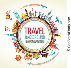 viaggiare, vettore, turismo, fondo