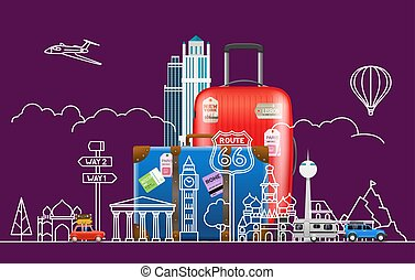 viaggiare, viste, accessori, illustrazione, famoso, vettore, concept.