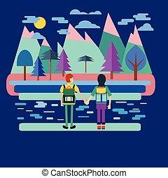 viaggiatore, coppia, backpack.