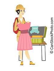 viaggiatore, imballaggio, donna, asiatico, suitcase.