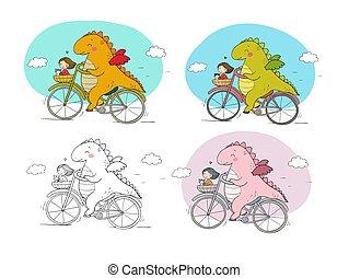 viaggiatore, ragazza, drago, divertente, cat., cartone animato, bicycle., carino, dinosauro