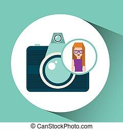 viaggiatore, ragazza, macchina fotografica, turista, occhiali