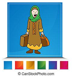 viaggiatore, ragazza, musulmano, set, bottone