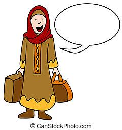 viaggiatore, ragazza, musulmano