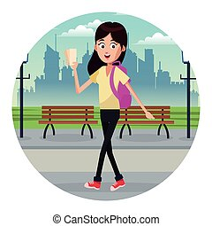 viaggiatore, ragazza, parco, biglietto