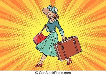 viaggiatore, ragazza, retro, valigia