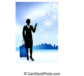 viaggiatore, skyline città, affari