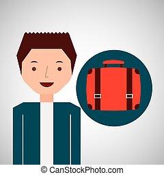 viaggiatore, tipo, valigia, giovane, turista