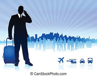 viaggiatore, uomo affari, skyline città