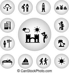 viaggiatore, zaino, icona, esploratore, fondamentale
