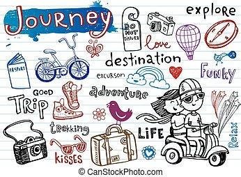 viaggio, doodles, impaurito, set